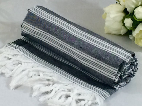 Turkish Peshtemal Towel Palace Style Black pestemals - Turkish Peshtemal Towels