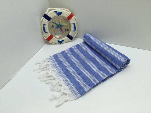 Turkish Peshtemal Towel Palace Style Blue pestemals - Turkish Peshtemal Towels