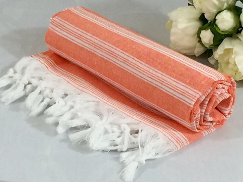 Turkish Peshtemal Towel Palace Style Orange pestemals - Turkish Peshtemal Towels