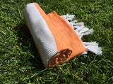 Turkish Peshtemal Towel Diamond Style Orange pestemals - Turkish Peshtemal Towels