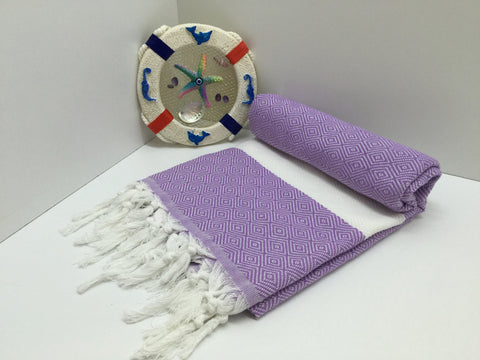 Turkish Peshtemal Towel Diamond Style Lilac pestemals - Turkish Peshtemal Towels