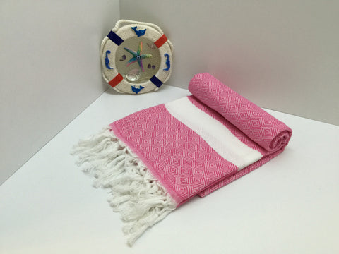Turkish Peshtemal Towel Diamond Style Pink pestemals - Turkish Peshtemal Towels