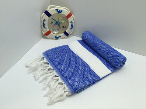 Turkish Peshtemal Towel Diamond Style Blue pestemals - Turkish Peshtemal Towels