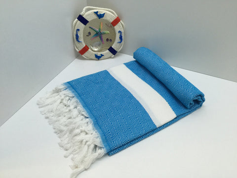Turkish Peshtemal Towel Diamond Style Turquoise pestemals - Turkish Peshtemal Towels