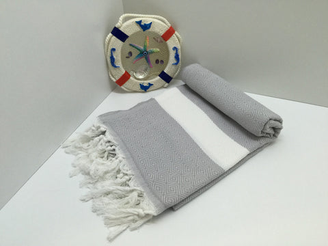 Turkish Peshtemal Towel Diamond Style Gray pestemals - Turkish Peshtemal Towels