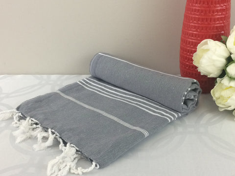 Turkish Peshtemal Towels Sultan Style Gray pestemals - Turkish Peshtemal Towels