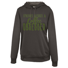 Load image into Gallery viewer, Stressed, Blessed & Coffee / Wine Obsessed Ladies' Hoodie - FREE Matching Mask incluced