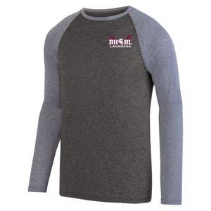 BHBL Lacrosse Long Sleeve Heathered Colorblock Performance Shirt- Ladies & Men's, 2 Colors