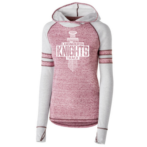 Lansingburgh Track & Field Hooded Two-Tone Long Sleeve- Girls & Ladies, 2 Colors