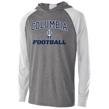 Load image into Gallery viewer, Columbia Football Hooded Long Sleeve Performance Shirt- Youth, Ladies & Men's, 2 Colors, 2 Logos