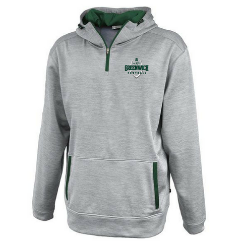Greenwich Football Hooded 1/4 Zip Performance Pullover- 2 Colors