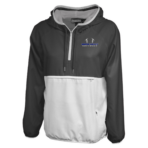 Hoosic Valley Softball Colorblock Hooded 1/4 Zip Windbreaker- Ladies & Men's, 3 Colors