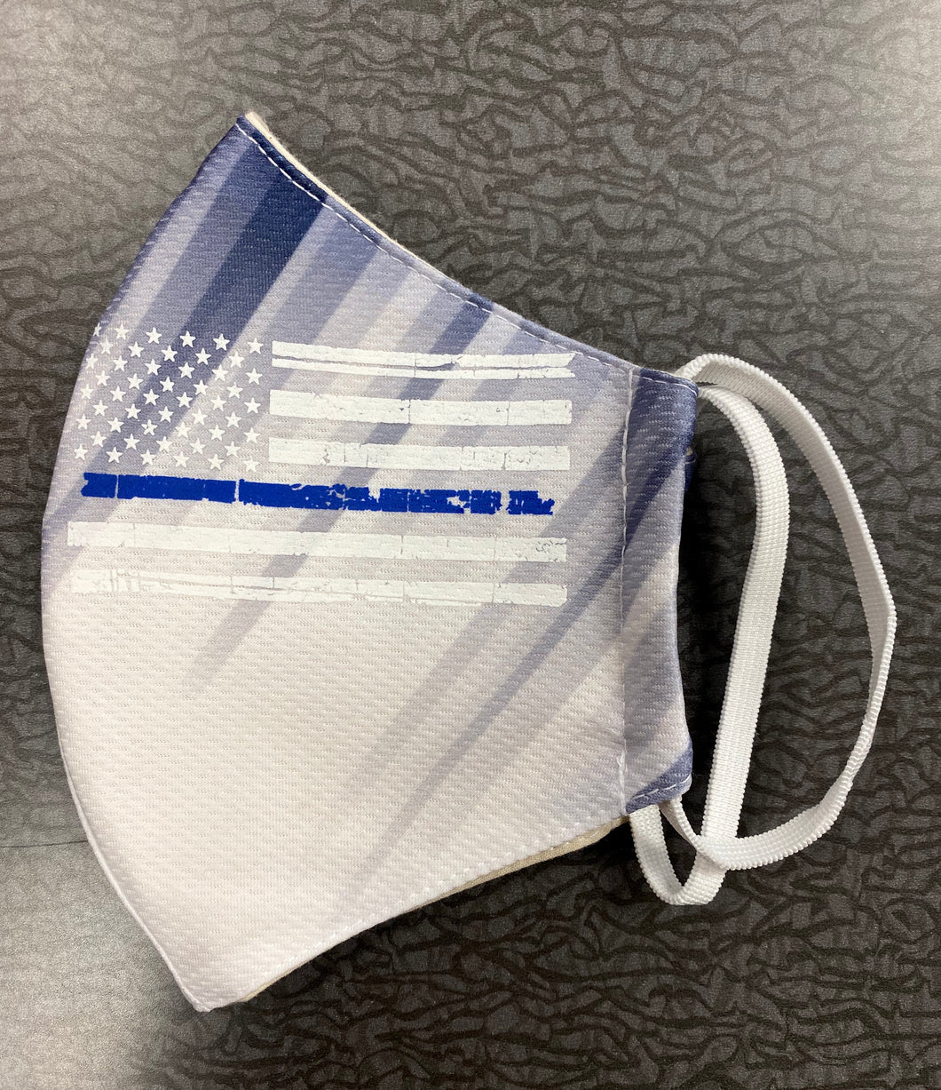 CLEARANCE- Thin Blue Line Flag Adult Face Mask