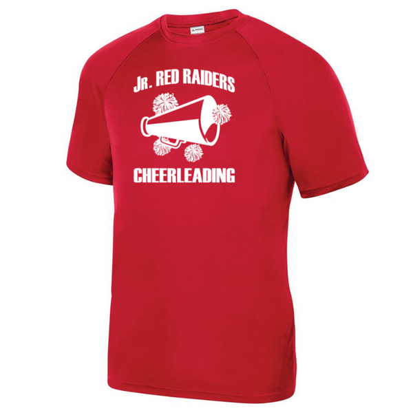 Jr Red Raiders Cheerleading Short Sleeve Solid Performance Tee- Youth, Girls, Ladies, & Men's, 2 Colors