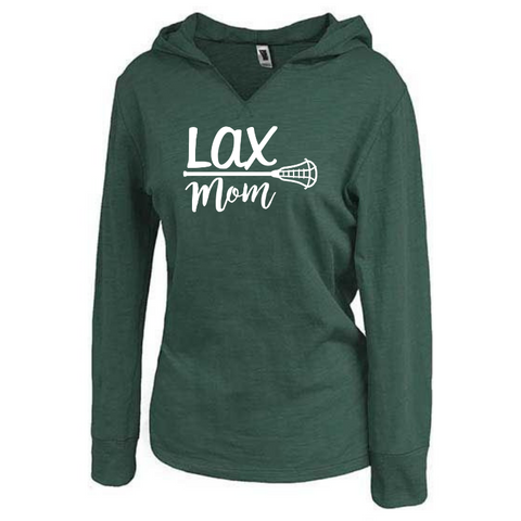 "Ladies Lightweight Hooded ""Lax Mom"" Long Sleeve- 6 Colors"