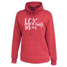 "Load image into Gallery viewer, Ladies Cowlneck ""Lax Mom"" Sweatshirt- 5 Colors"