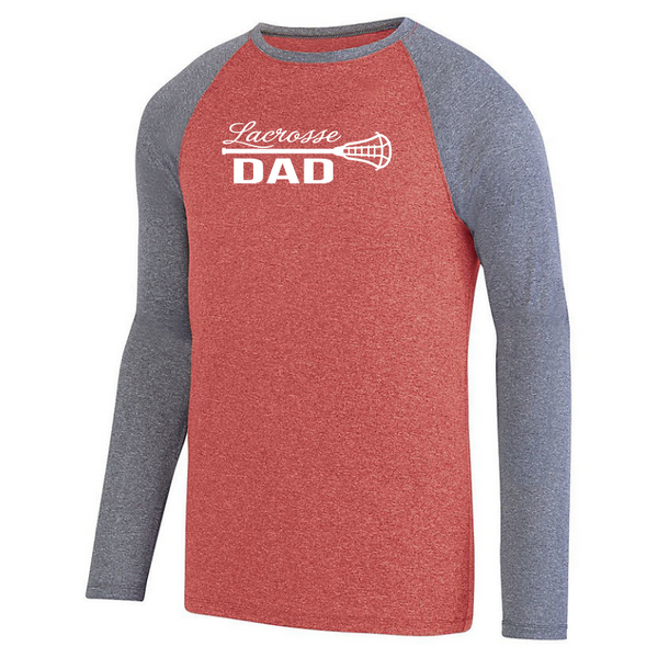 Lacrosse Custom Family Fan Long Sleeve Heathered Colorblock Performance Shirt- Ladies & Men's, 8 Colors