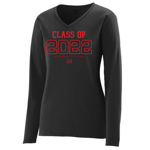 Mechanicville Class of 2022 Solid Long Sleeve Performance Shirt- Youth, Ladies & Men's, 3 Colors, 2 Logo Options
