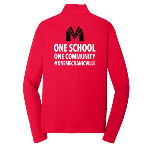 Mechanicville Long Sleeve Lightweight Zip Pullover- Youth, Ladies & Men's, 3 Colors, 2 Logos