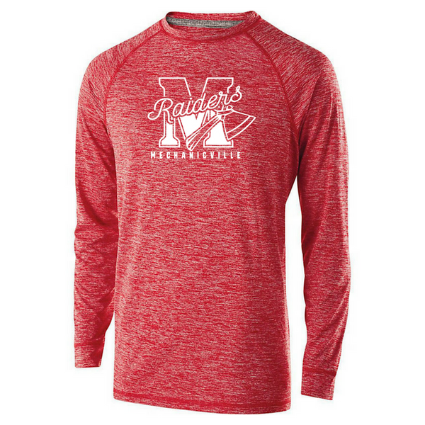 Mechanicville Red Raiders Long Sleeve Heather Performance Tee- Youth, Ladies, & Men's, 2 Colors