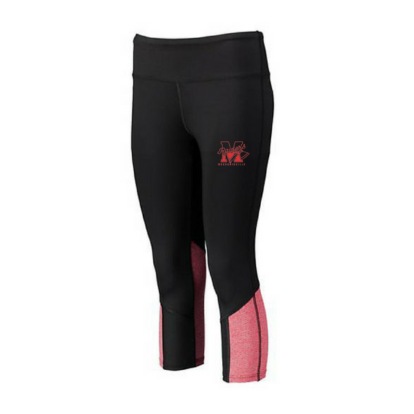 Mechanicville Red Raiders Spandex Colorblock Capris- Girls & Ladies, 3 Colors