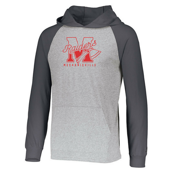 Mechanicville Red Raiders Two-Tone Long Sleeve Lightweight Hooded Shirt- 3 Colors