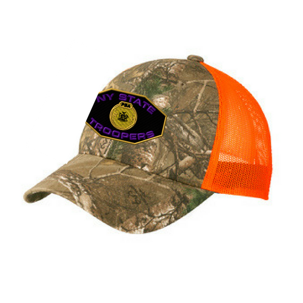 NYS Troopers Structured Camo Mesh Back Hat- 2 Colors, 3 Logo Options
