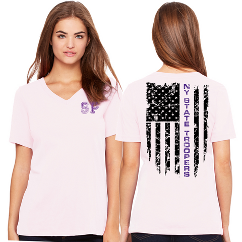 NYS Troopers Ladies V-neck Tee- 2 Colors, 2 Logo Options