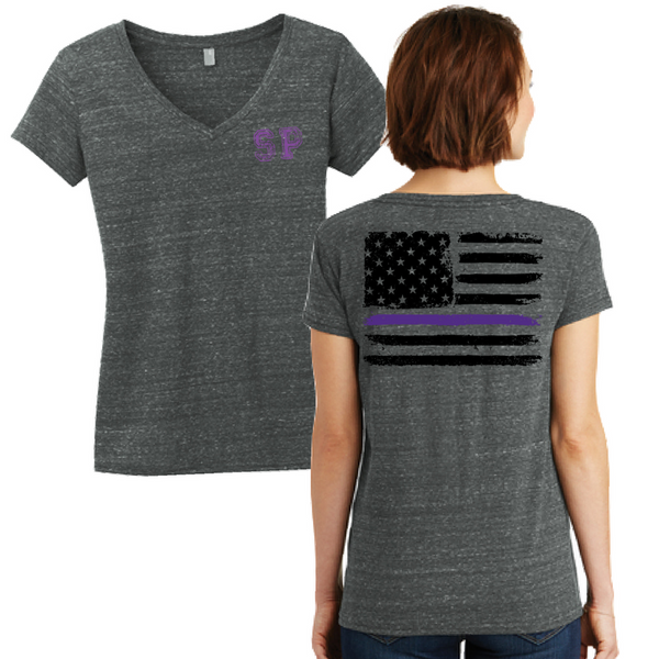NYS Troopers Ladies Cosmic Print V-neck Tee- 2 Colors, 3 Logo Options