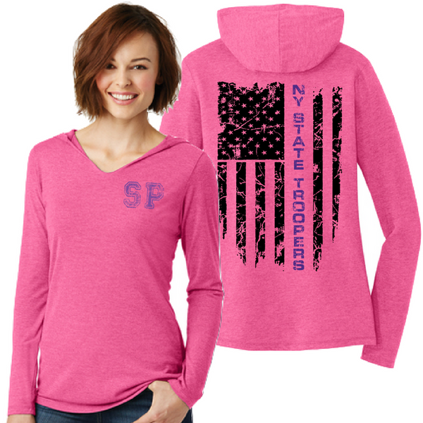 NYS Troopers Ladies Tri-Blend Hooded Long Sleeve- 3 Colors, 3 Logo Options