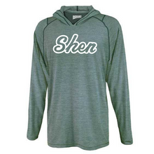 Load image into Gallery viewer, Skano/Shen Hooded Heather Long Sleeve Performance Tee- Youth & Adult, 2 Colors