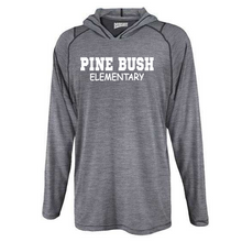 Load image into Gallery viewer, Pine Bush/Guilderland Hooded Heather Long Sleeve Performance Tee- Youth & Adult, 2 Colors, 2 Logo Options