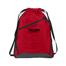 Load image into Gallery viewer, Pine Bush/Guilderland Zipper-Front Drawstring Bag- 2 Colors, 2 Logo Options