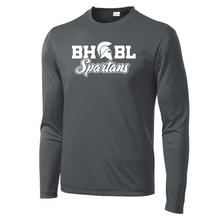 Load image into Gallery viewer, BHBL Spartans Long Sleeve Performance Tee - Youth, Ladies, & Men's, 3 Colors