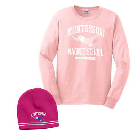 Montessori Long Sleeve Tee/Beanie Bundle- Youth & Adult, 3 Colors, 2 Logos