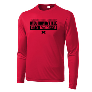 Mechanicville Red Raiders Long Sleeve Performance Tee - Youth, Ladies, & Men's, 3 Colors