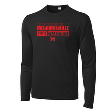 Load image into Gallery viewer, Mechanicville Red Raiders Long Sleeve Performance Tee - Youth, Ladies, & Men's, 3 Colors