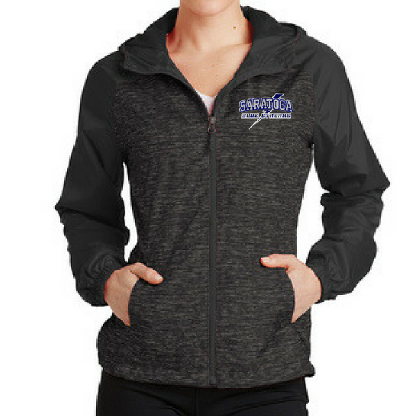 Saratoga Heathered Hooded Wind Jacket- Ladies & Men's, 3 Colors