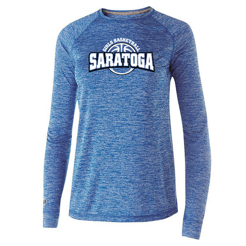 Saratoga Girls Basketball Long Sleeve Heather Performance Tee- Youth, Ladies, & Men's, 4 Colors