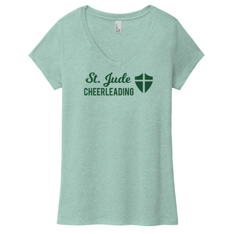 St. Jude Cheerleading Tri-Blend V-Neck T-shirt- Girls & Ladies, 3 Colors