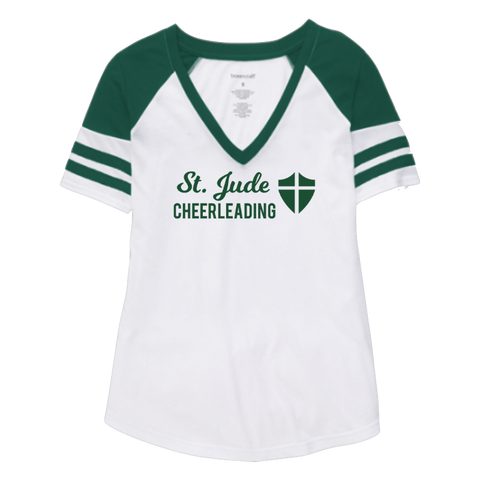 St. Jude Cheerleading Striped Sleeve V-Neck Tee- Girls & Ladies, 2 Colors