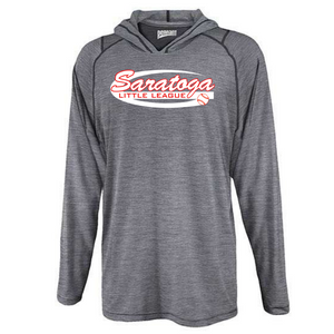 Saratoga Little League Hooded Heather Long Sleeve Performance Tee- Youth & Adult, 3 Colors