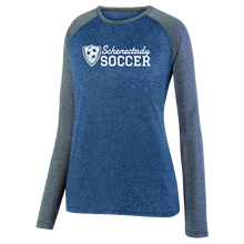 Load image into Gallery viewer, Schenectady Soccer Long Sleeve Heathered Colorblock Performance Shirt- Ladies & Men's, 2 Colors