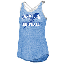 Load image into Gallery viewer, Saratoga Softball Ladies Cross Back Tank- 3 Colors