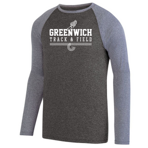 Greenwich Track & Field Long Sleeve Heathered Colorblock Performance Shirt- Ladies & Men's, 2 Colors