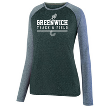 Load image into Gallery viewer, Greenwich Track & Field Long Sleeve Heathered Colorblock Performance Shirt- Ladies & Men's, 2 Colors