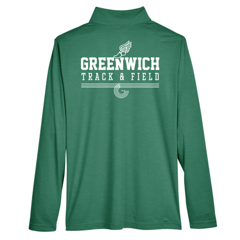 Greenwich Track & Field Lightweight Heather Performance 1/4 Zip- Youth, Ladies, & Men's, 2 Colors