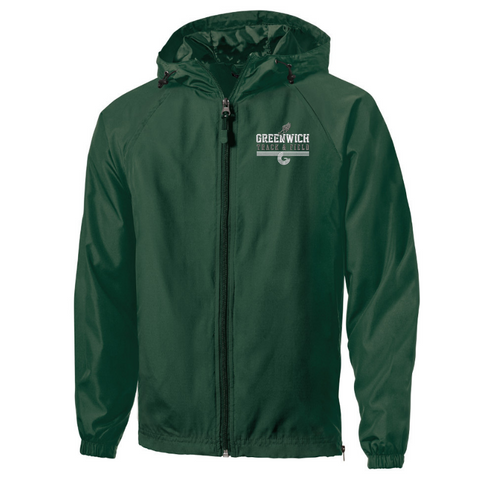 Greenwich Track & Field Lightweight Hooded Full-Zip Jacket- Youth, Ladies, & Adult, 2 Colors