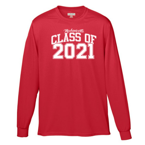 Mechanicville Class of 2021 Solid Long Sleeve Performance Shirt- Youth, Ladies & Men's, 2 Colors