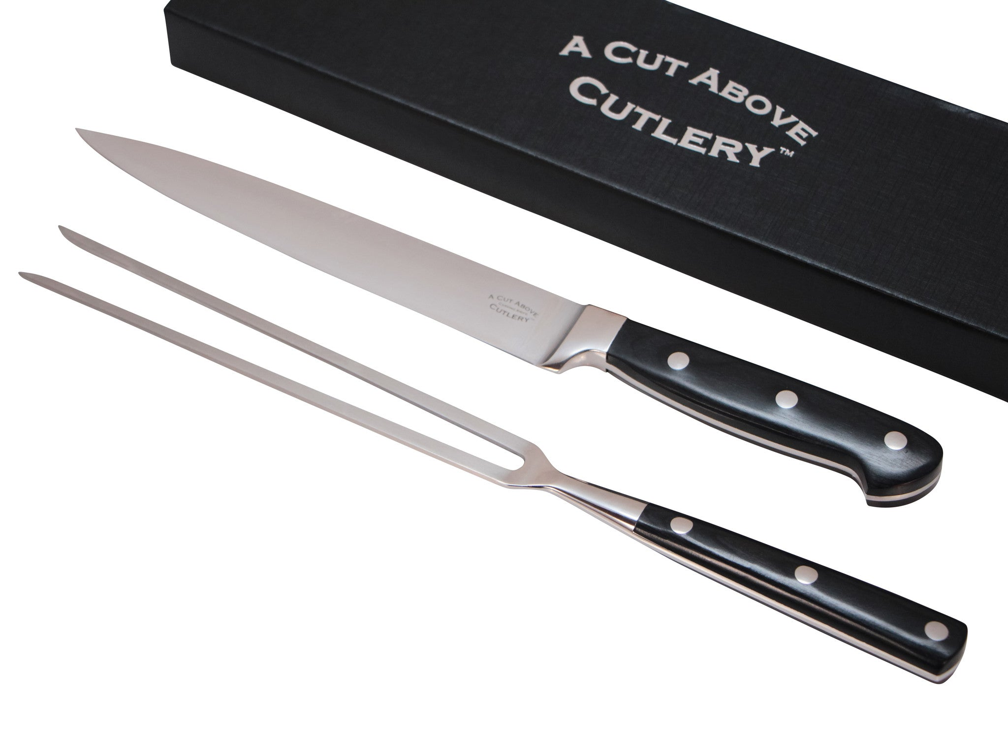 A Cut Above Cutlery Carving Knife Set, Extended Fork Holds the Largest Turkey, Roast or Ham Securely, 8 Inch Stainless Steel Blade Slices Cleanly, Won't Shred- Carve Your Dinner Like A Pro Chef